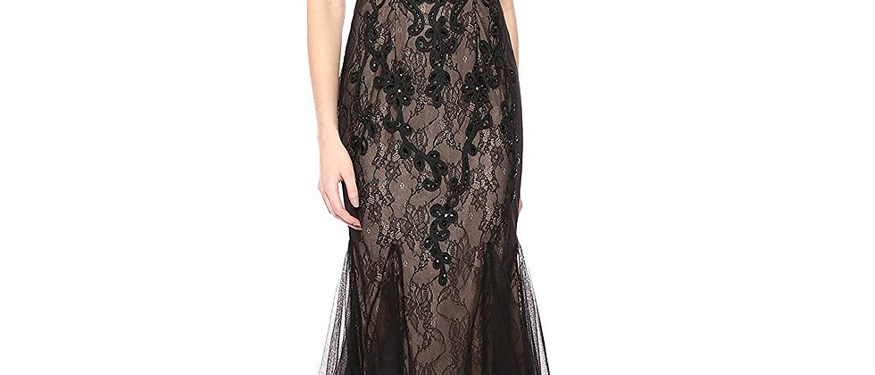 Betsy & Adam Womens Long Crystal Stone Soutache with Godets Dress
