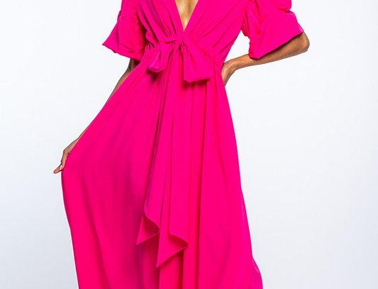 Puffed Sleeves V-neck Dress