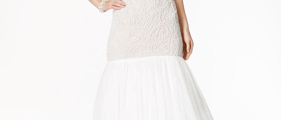 Adrianna Papell Beaded Strapless Mermaid Dress