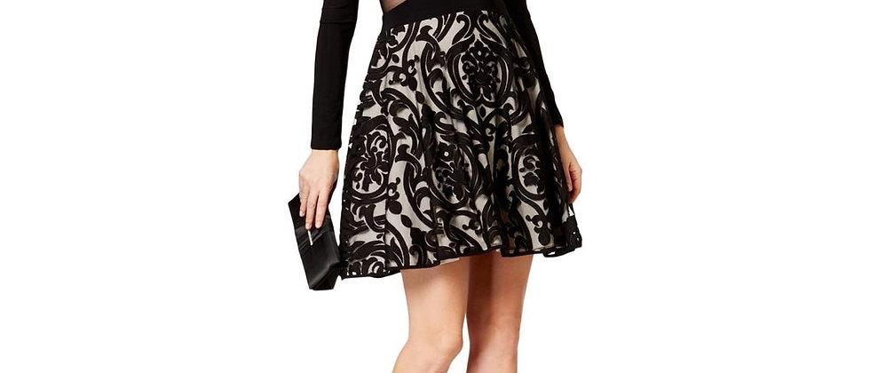Xscape Long Sleeve Mesh Cocktail Dress