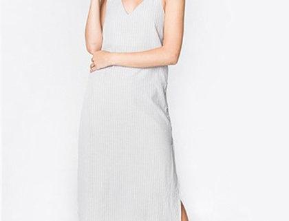 Gray  Printstripe Maxi Dress