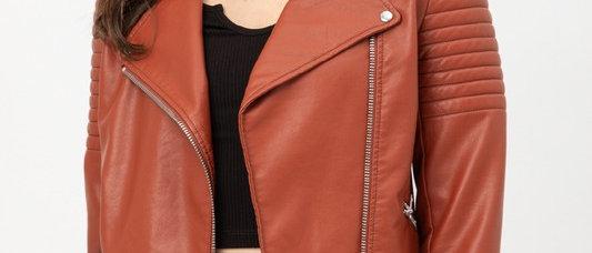 PU Flap Collar Biker Jacket