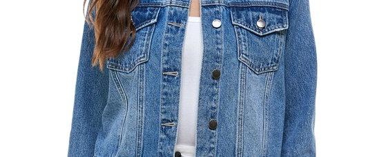 Rhinestone Embelished Collar Denim Jacket
