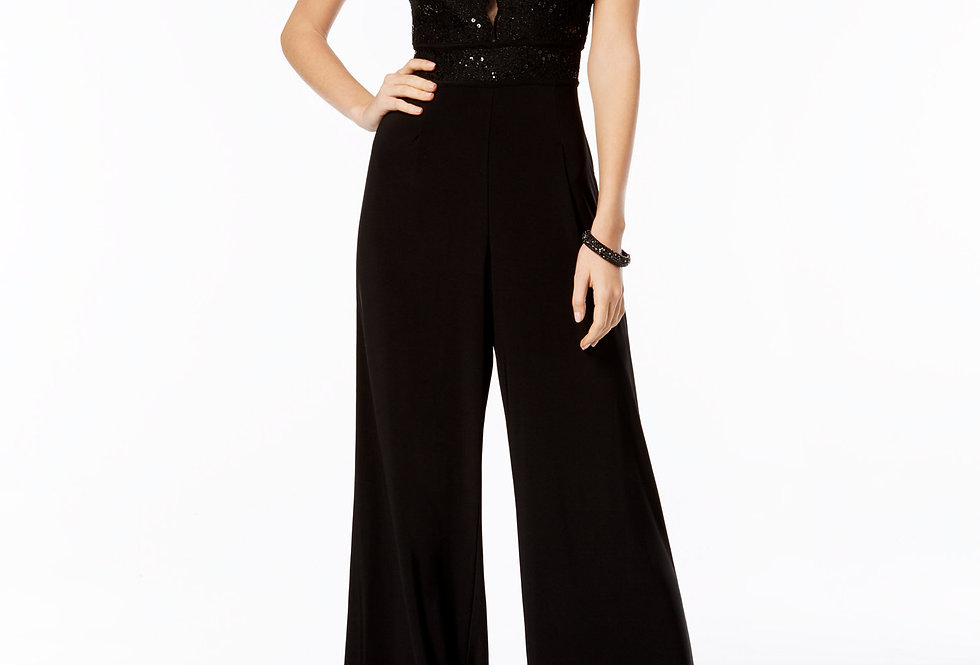 Nightway Womens Sequined Formal Jumpsuit