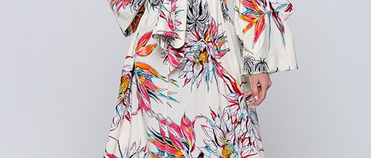 V-Neck Printed Tie Maxi Dress