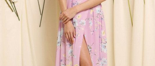 Ruffle Back Detail Waist Wrap Dress