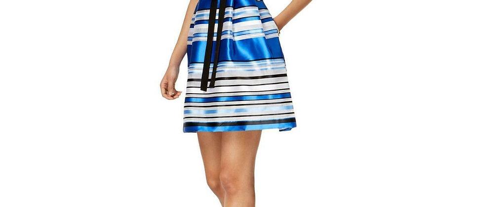 Ellen Tracy Blue Striped Organza Party Dress Petite