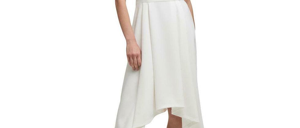 DKNY Womens Ivory High Low Sleeveless V Neck Midi Dress