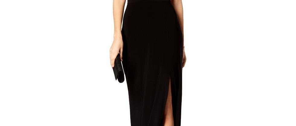 Nightway Womens Black Beige Sequined Halter Sleeveless Dress