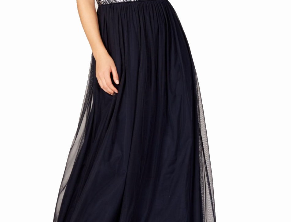 Adrianna Papell Sequined Tulle Maxi Dress