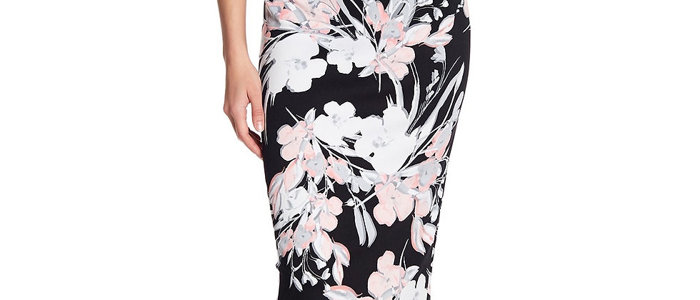 Connected Women's Chiffon Cape Floral-Print Dress