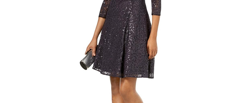 SLNY Sequined Lace Fit-and-Flare Dress