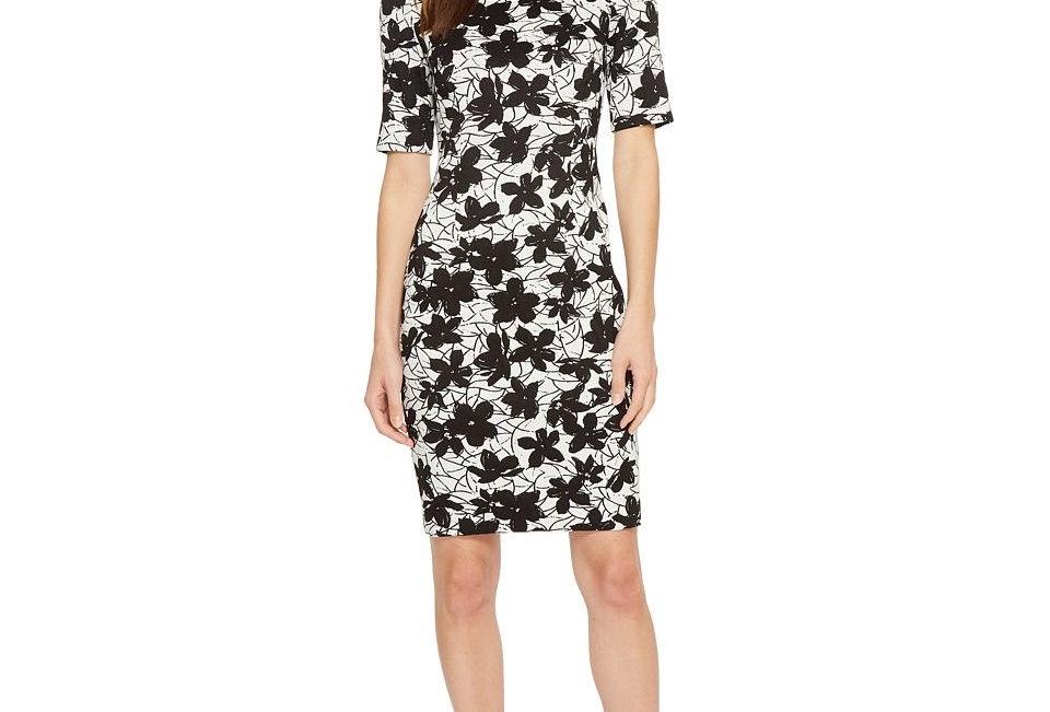 Calvin Klein Floral Compression Jacquard Dress