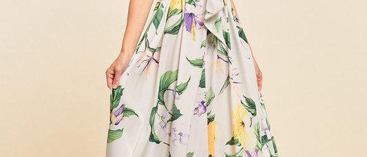 V-Neck Printed Tie Up Maxi Dress