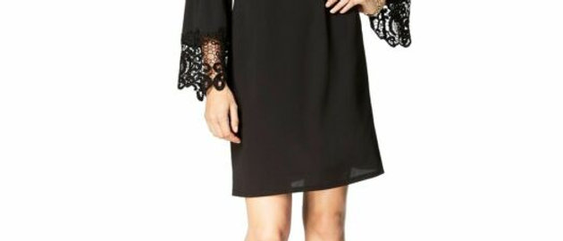 MSK Womens Black Lace-trim Bell Sleeves Cocktail Party