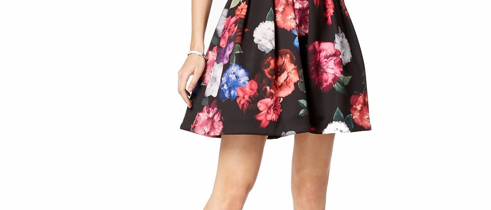 Xscape Floral Print and Flare Dress
