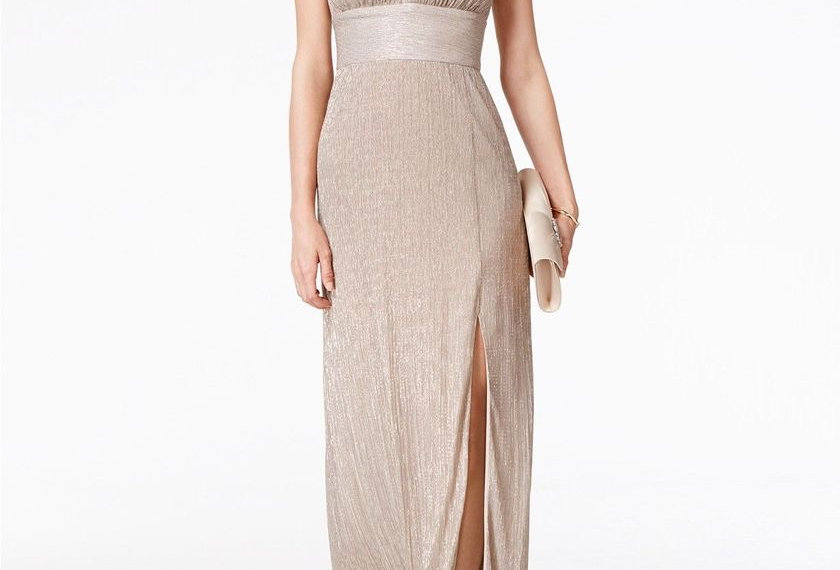 R & M Richards Metallic Keyhole Halter A-Line Dress