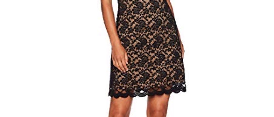 Connected 3/4 Sleeve Illusion Lace Sheath Dress