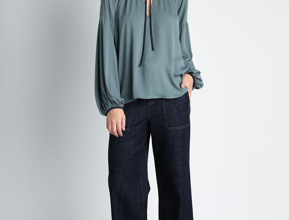 Sage Tie Neck Top