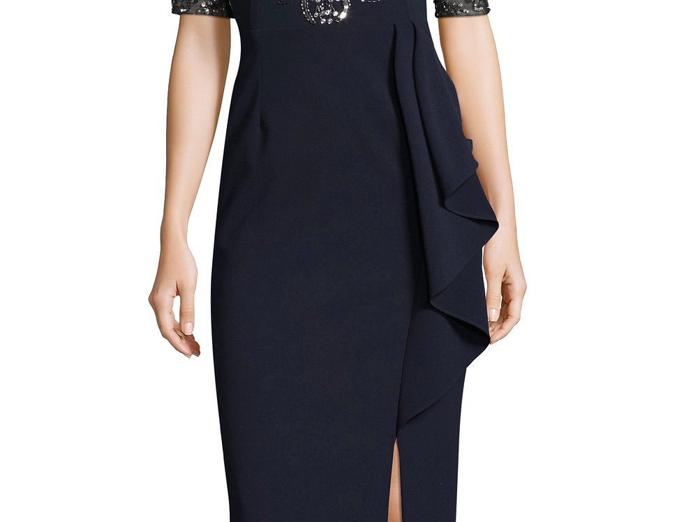 Adrianna Papell Embelished V-neck Dress