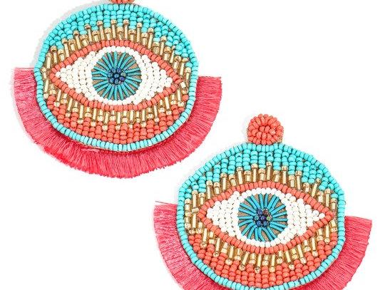 Evil Eye Coral Earrings