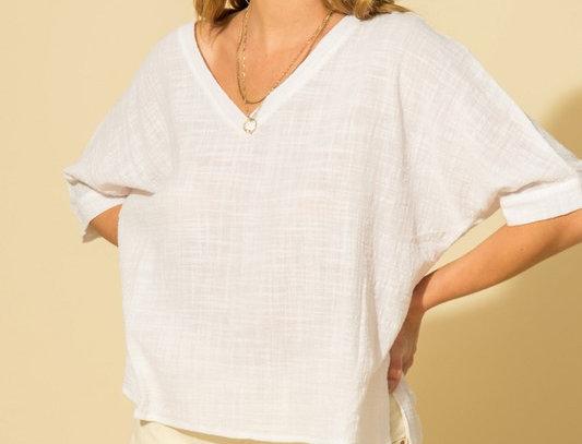 V-Neck Short Sleeve Poncho Shirt