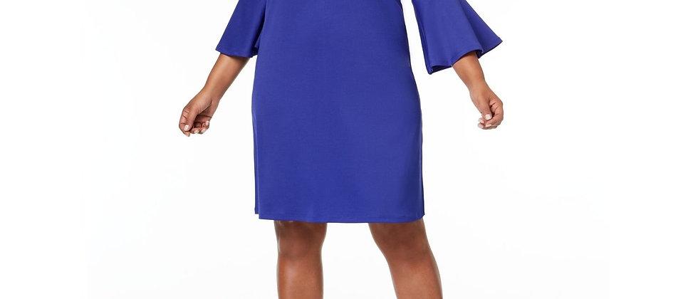 Kasper Ribbed Knit Flounce Sleeve dress