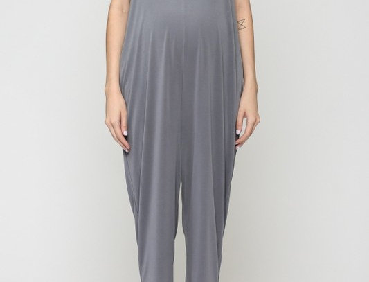 V-Neck Maternity Jumpsuit with SidePocket