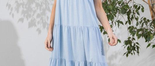 Tencel Denim Tiered Maxi Dress