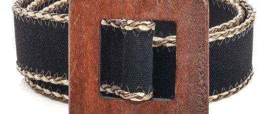 Squared Wooden Buckle Belt