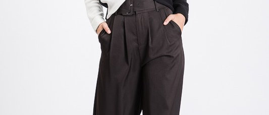Black Belted Wide Leg Pants