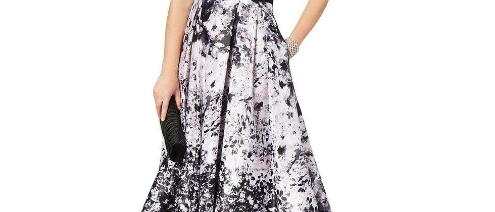 Xscape Floral Printed Hi-Lo Hem Ball Gown