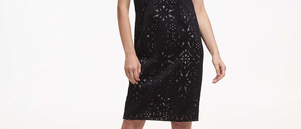 DKNY Black Lasercut & Mesh Sheath Dress