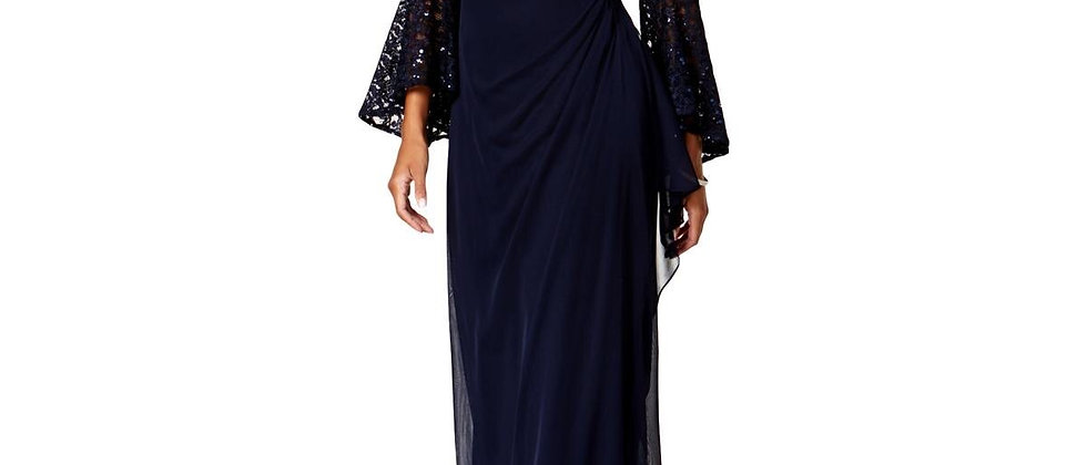 Xscape Womens Navy Lace Sequined Formal Evening Dress