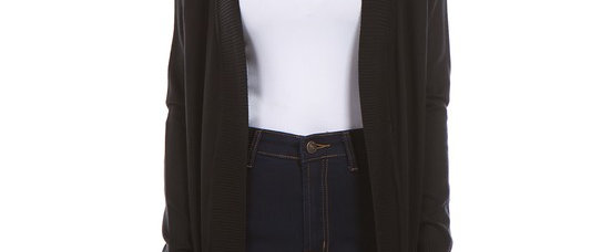 Long Open Front Knit Cardigan With Pockets