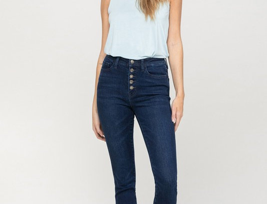 Plot Twist High Rise Button Up Ankle Skinny Jeans
