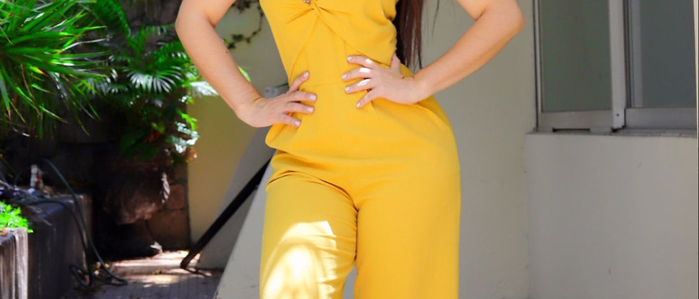 Linen Mustard Jumpsuit