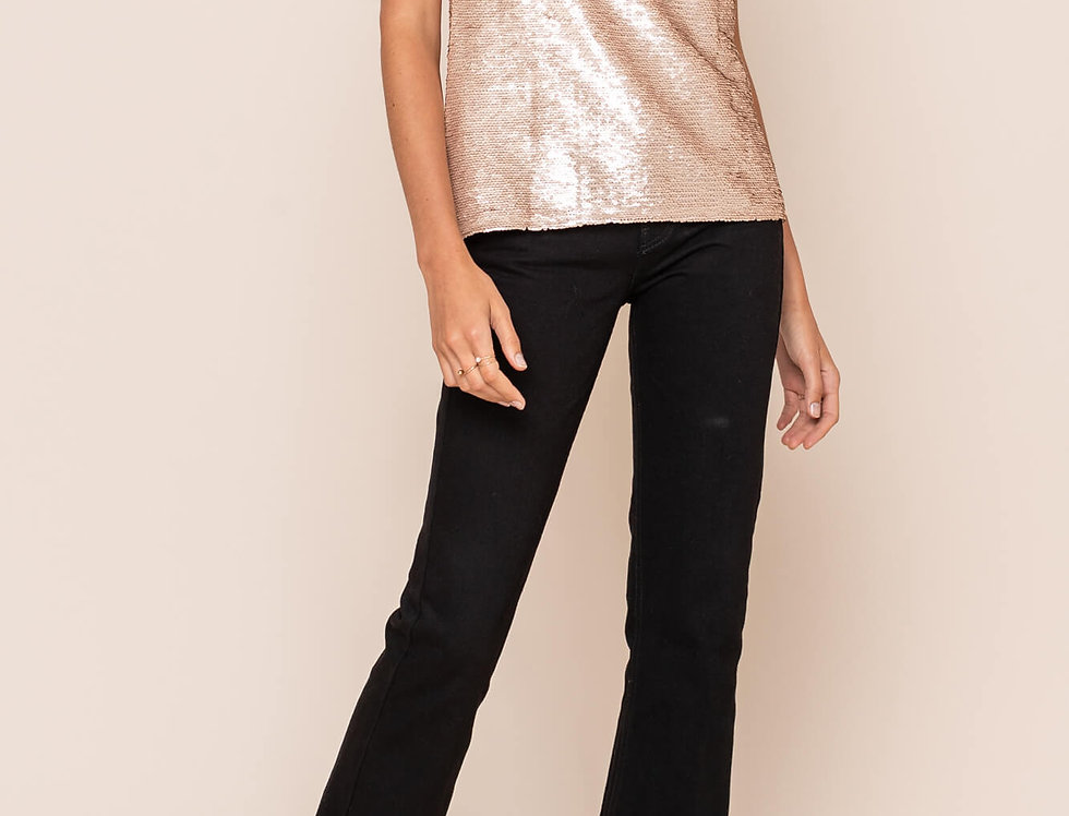 Champagne Sequin Cowl Neck Top