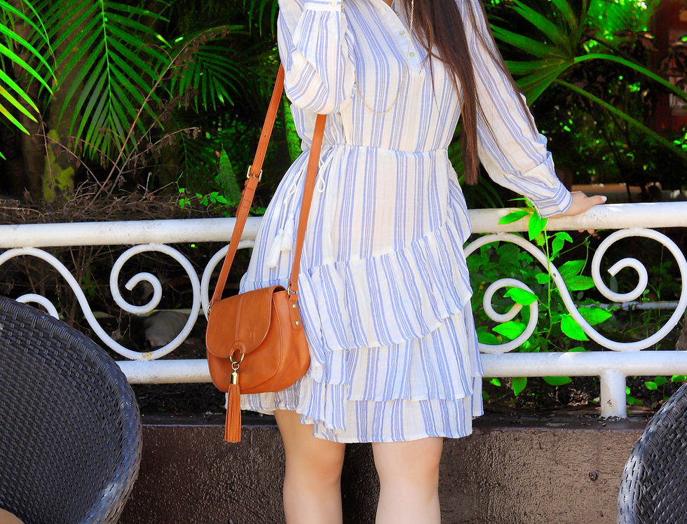 Long Sleeve Blue Striped Midi Dress