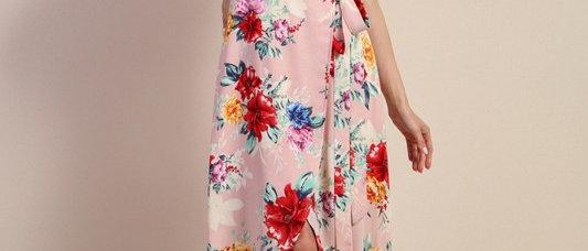 Wrap Long Dress With Belt On Waist Ruffle Detail