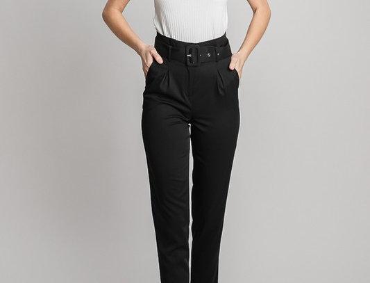 Black Twill Buckle Belt Trousers Pants