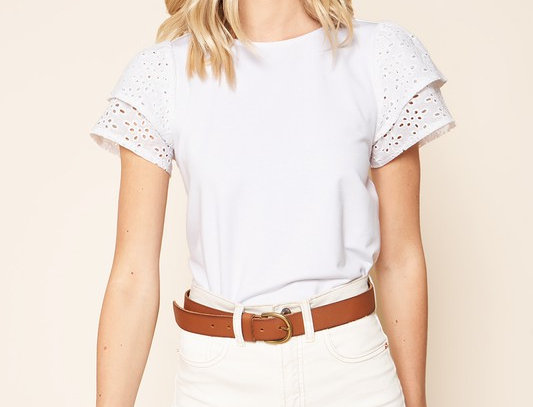 Rosabella Eyelet Mix Media Top