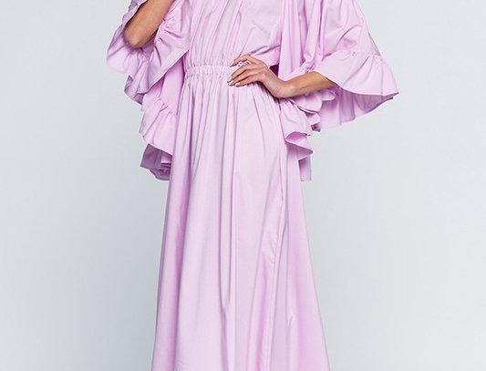 Off the Shouder Wide Ruffle Sleeves Maxi Dress