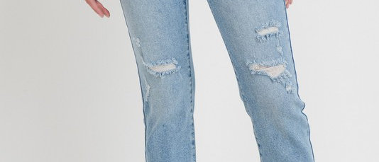 Distressed Straight Medium Denim Jean