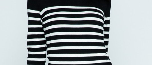 Knit Round Neck Stripe Pull Over