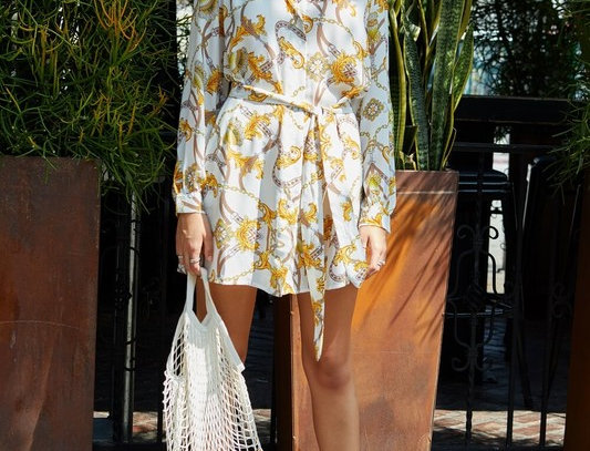 Chain Print Pocket Shirt Dress