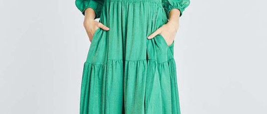 Elastic Waist Long Sleeve Dress