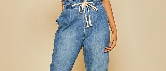 Pleated Denim Pants