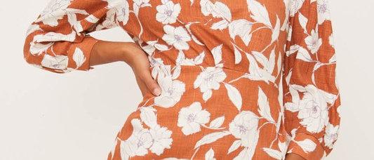Salmon-Cream Printed Wrap Midi Dress