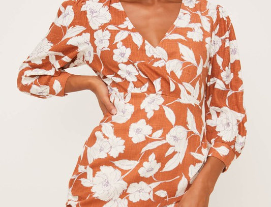 Salmon-Cream Printed Wrap Midi Dress